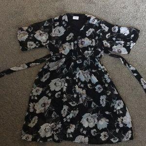 Stylish floral wrap dress.
